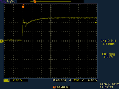 5V プルアップした信号波形